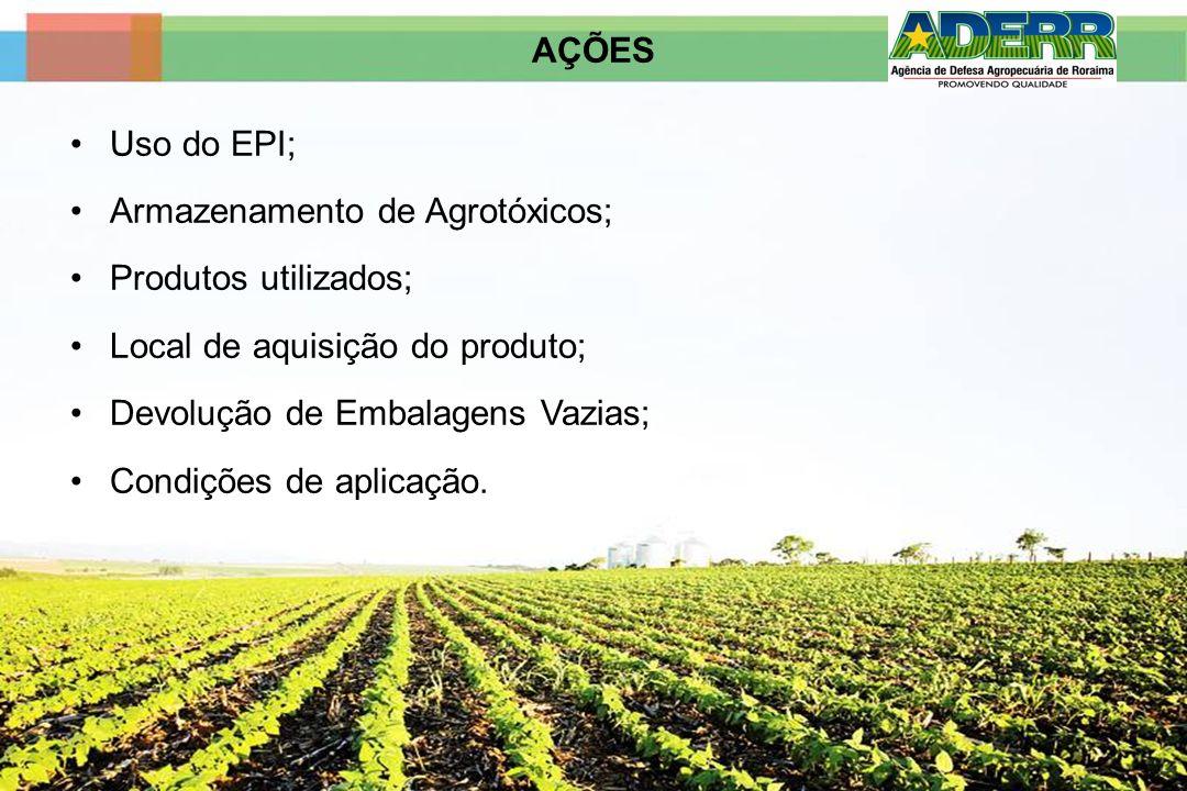 AÇÕESUso do EPI; Armazenamento de Agrotóxicos; Produtos utilizados; Local de aquisição do produto; Devolução de Embalagens Vazias;