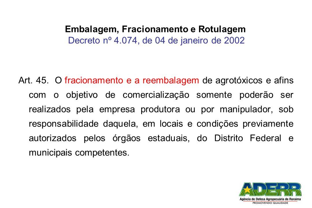 Embalagem, Fracionamento e Rotulagem Decreto nº 4