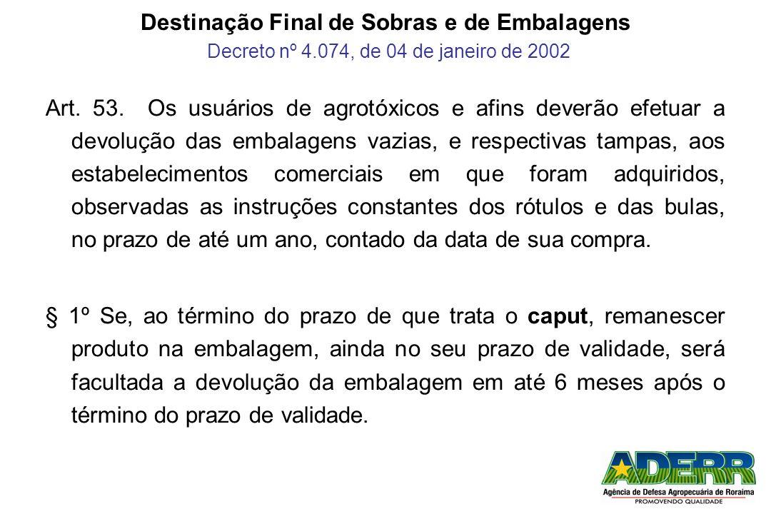 Destinação Final de Sobras e de Embalagens Decreto nº 4