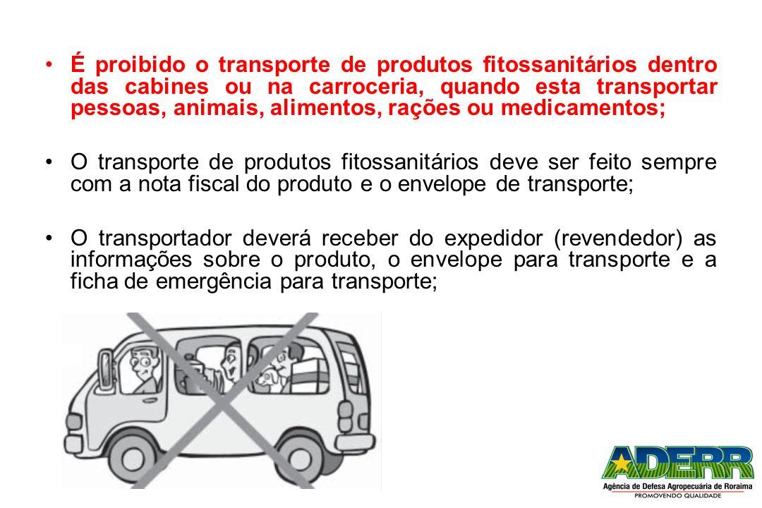 É proibido o transporte de produtos fitossanitários dentro das cabines ou na carroceria, quando esta transportar pessoas, animais, alimentos, rações ou medicamentos;