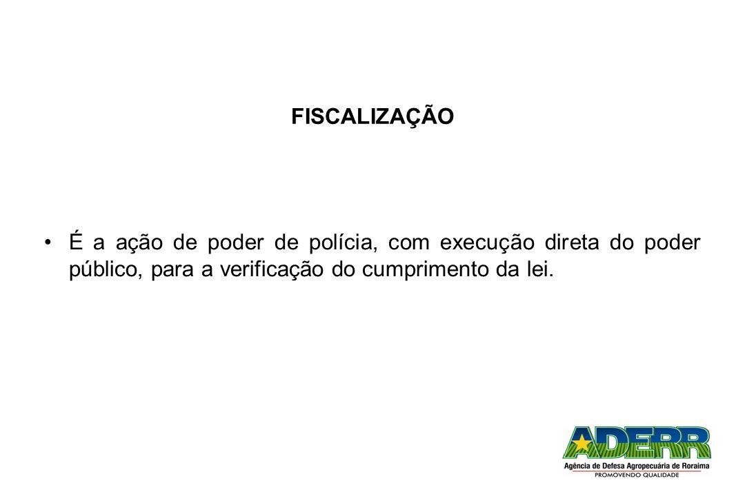 FISCALIZAÇÃO É a ação de poder de polícia, com execução direta do poder público, para a verificação do cumprimento da lei.