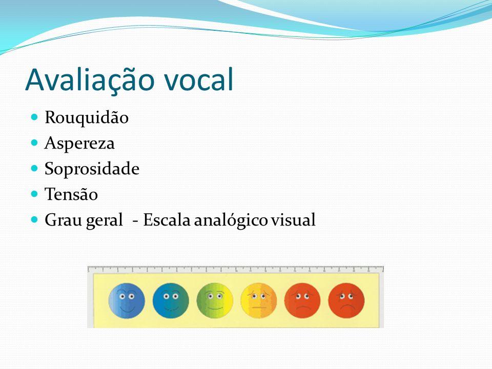 Avaliação vocal Rouquidão Aspereza Soprosidade Tensão