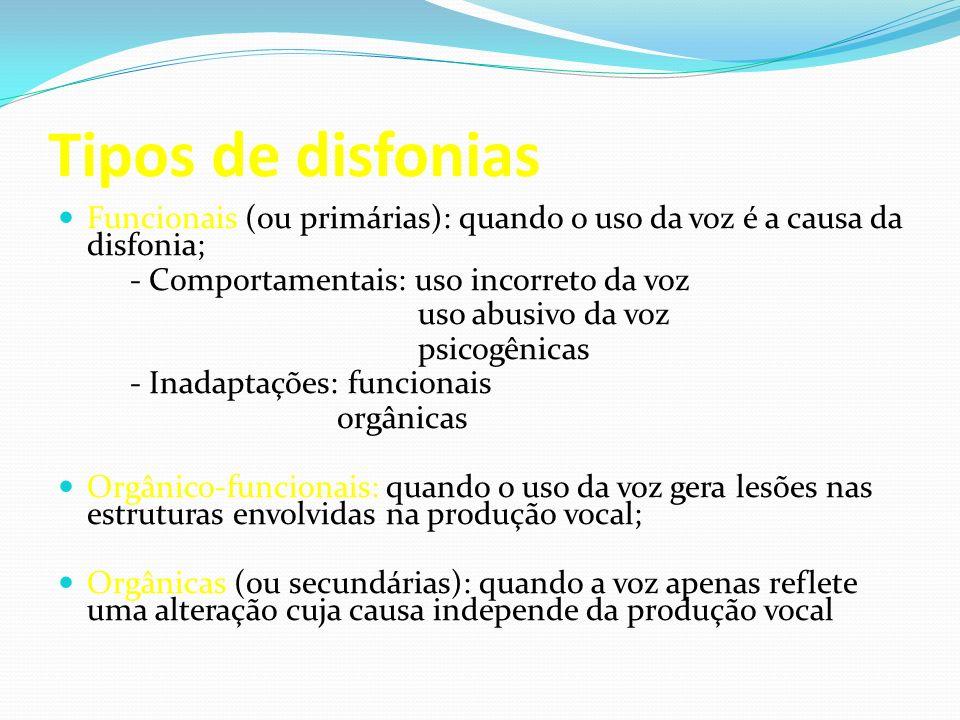 Tipos de disfonias Funcionais (ou primárias): quando o uso da voz é a causa da disfonia; - Comportamentais: uso incorreto da voz.