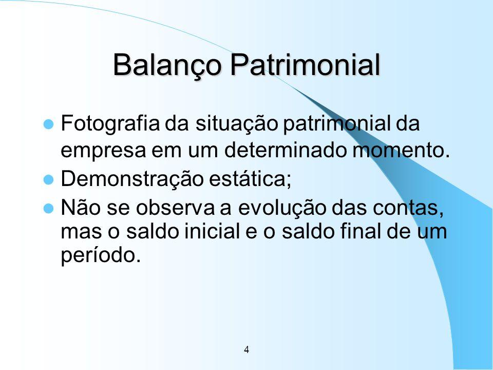Balanço PatrimonialFotografia da situação patrimonial da empresa em um determinado momento. Demonstração estática;