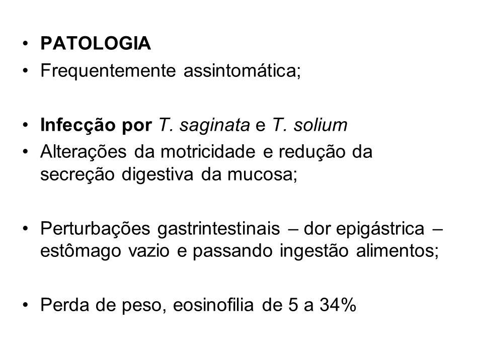PATOLOGIA Frequentemente assintomática; Infecção por T. saginata e T. solium. Alterações da motricidade e redução da secreção digestiva da mucosa;