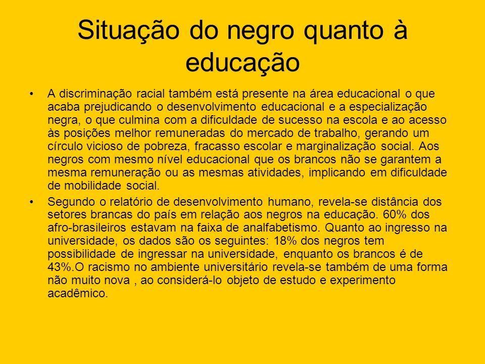 Situação do negro quanto à educação