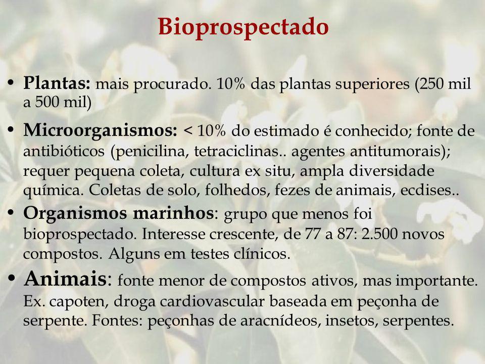 Bioprospectado Plantas: mais procurado. 10% das plantas superiores (250 mil a 500 mil)