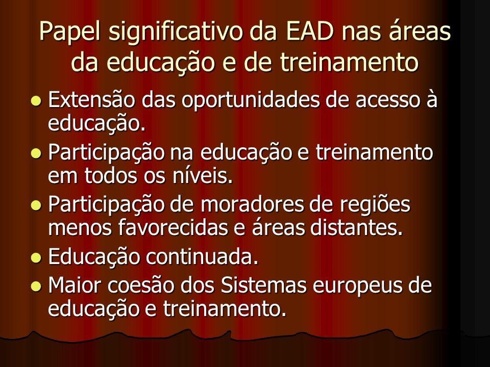 Papel significativo da EAD nas áreas da educação e de treinamento