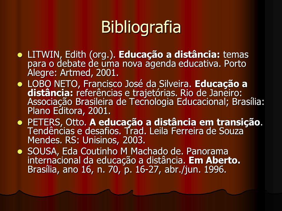 Bibliografia LITWIN, Edith (org.). Educação a distância: temas para o debate de uma nova agenda educativa. Porto Alegre: Artmed, 2001.