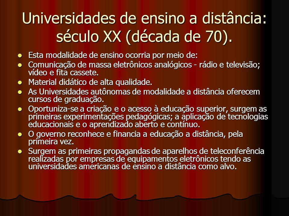 Universidades de ensino a distância: século XX (década de 70).
