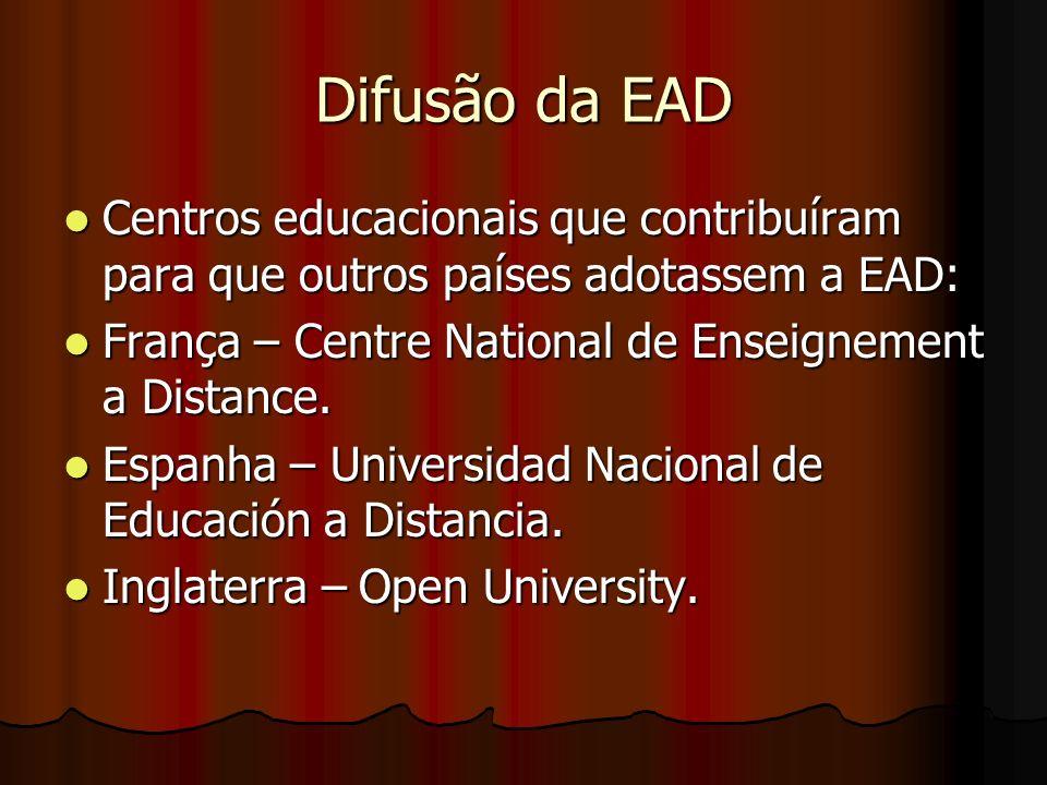 Difusão da EAD Centros educacionais que contribuíram para que outros países adotassem a EAD: França – Centre National de Enseignement a Distance.