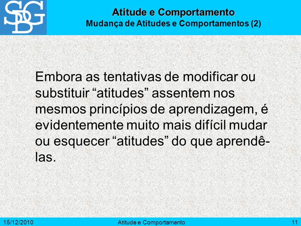 Atitude e Comportamento Mudança de Atitudes e Comportamentos (2)