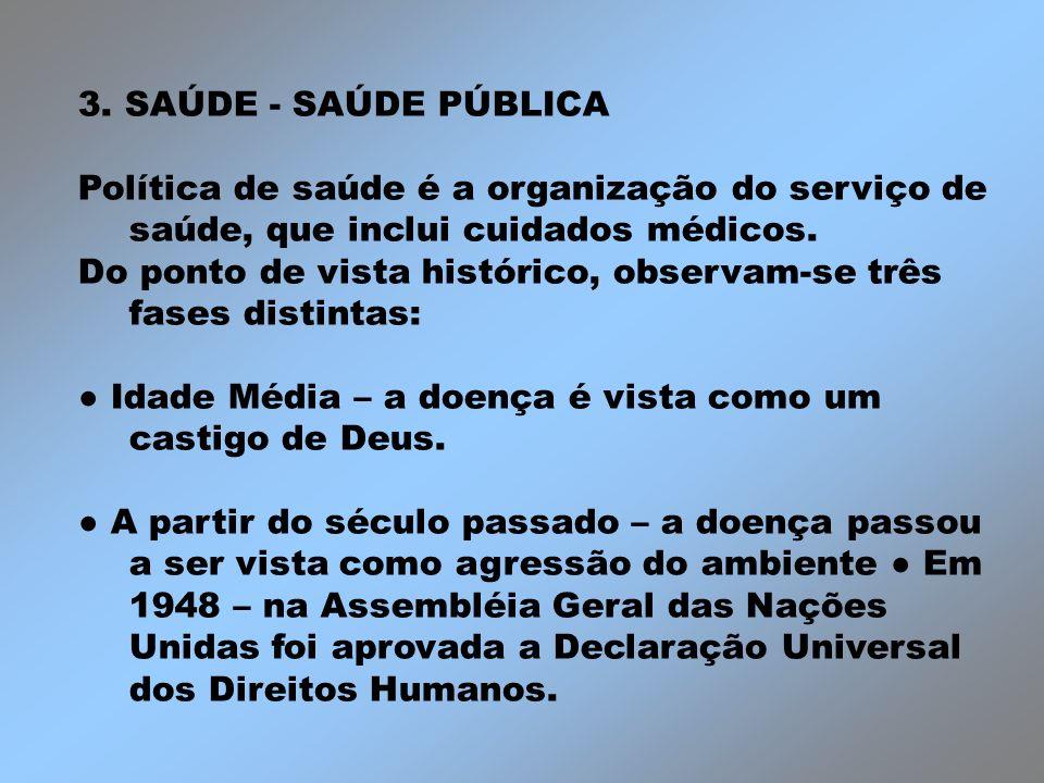 3. SAÚDE - SAÚDE PÚBLICAPolítica de saúde é a organização do serviço de saúde, que inclui cuidados médicos.