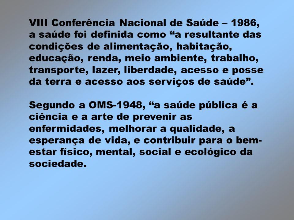 VIII Conferência Nacional de Saúde – 1986, a saúde foi definida como a resultante das condições de alimentação, habitação, educação, renda, meio ambiente, trabalho, transporte, lazer, liberdade, acesso e posse da terra e acesso aos serviços de saúde .