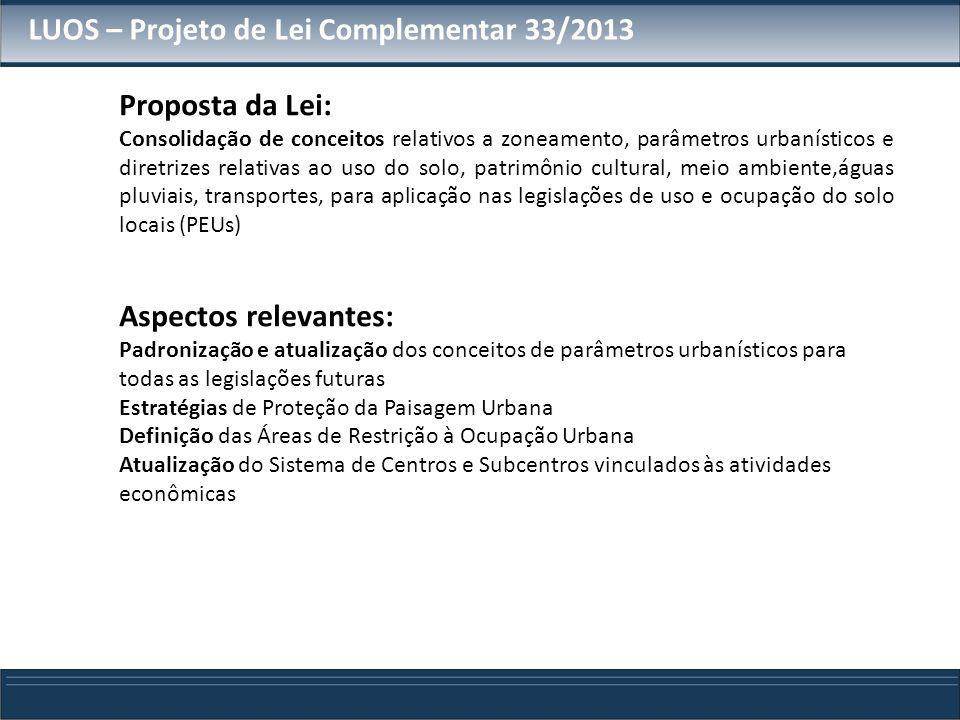 LUOS – Projeto de Lei Complementar 33/2013