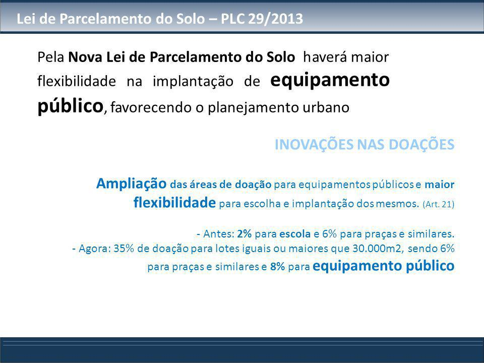 Lei de Parcelamento do Solo – PLC 29/2013