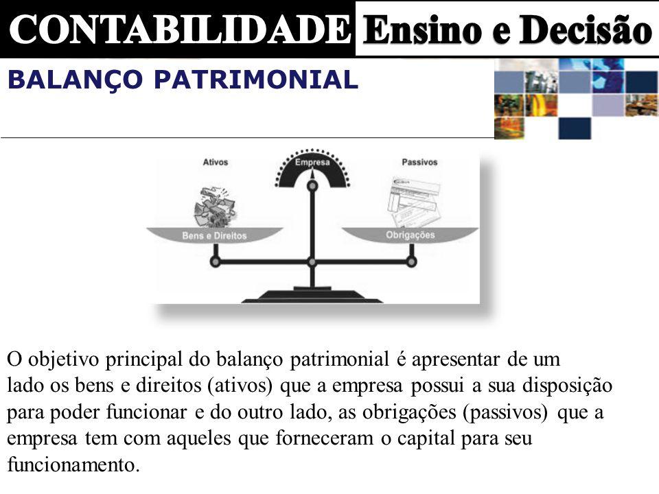 Balanço Patrimonial O objetivo principal do balanço patrimonial é apresentar de um.
