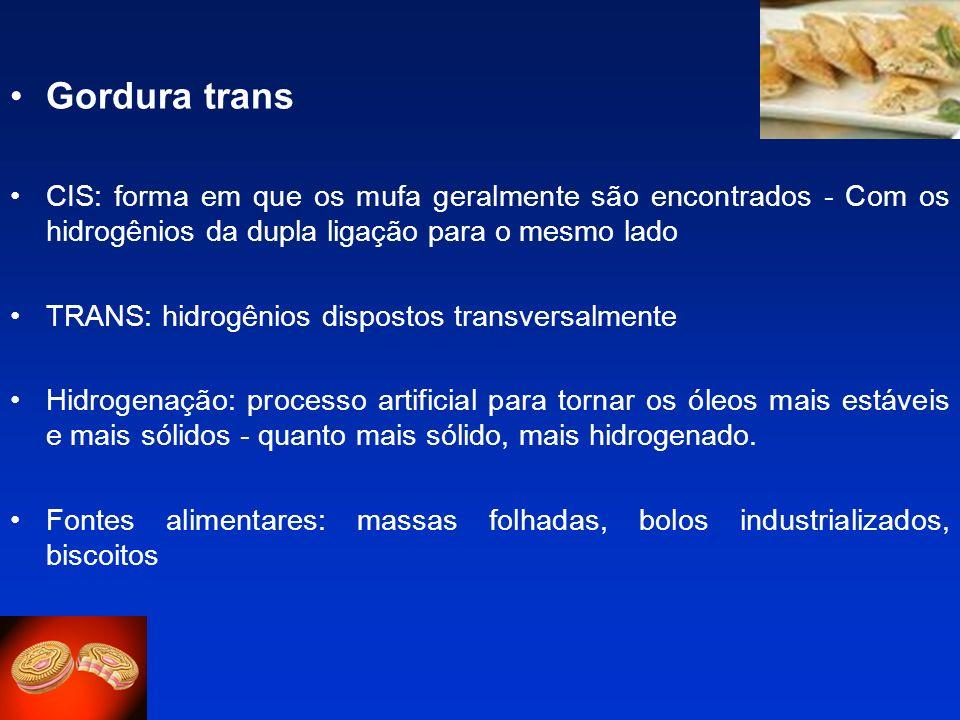 Gordura transCIS: forma em que os mufa geralmente são encontrados - Com os hidrogênios da dupla ligação para o mesmo lado.