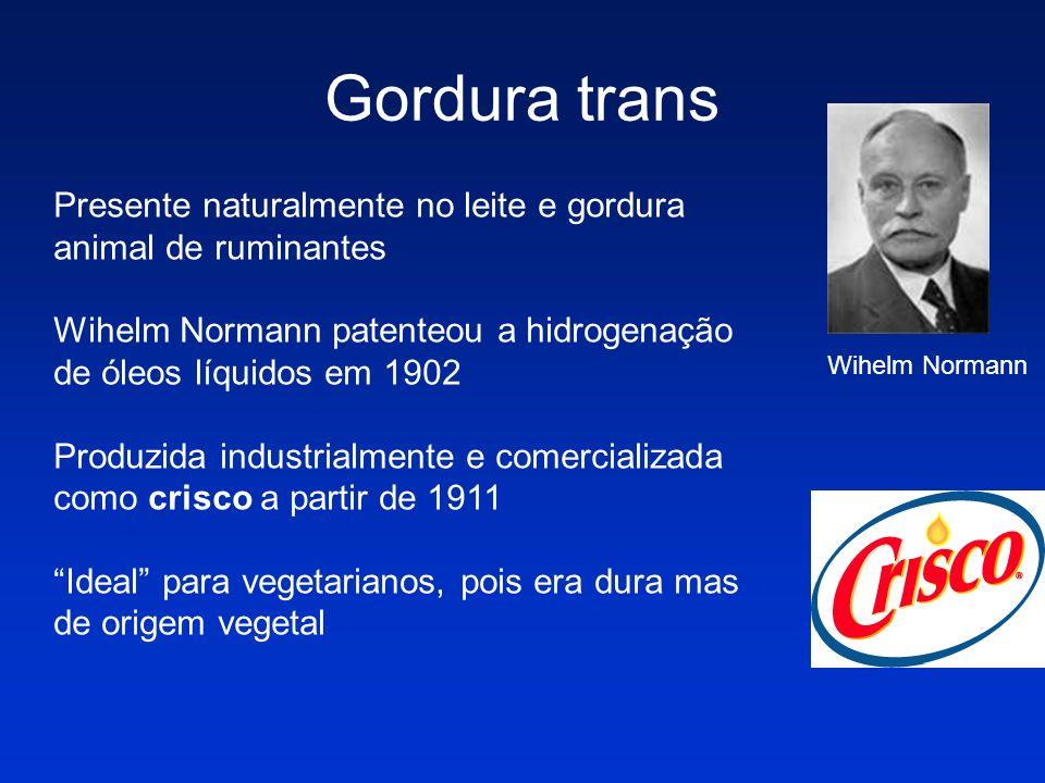 Gordura transPresente naturalmente no leite e gordura animal de ruminantes. Wihelm Normann patenteou a hidrogenação de óleos líquidos em 1902.