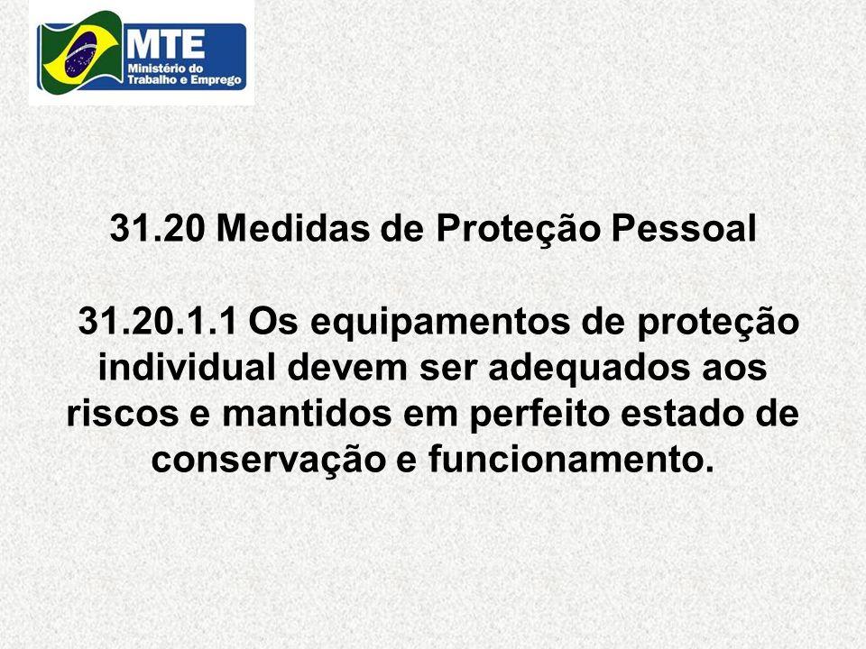 31. 20 Medidas de Proteção Pessoal 31. 20. 1