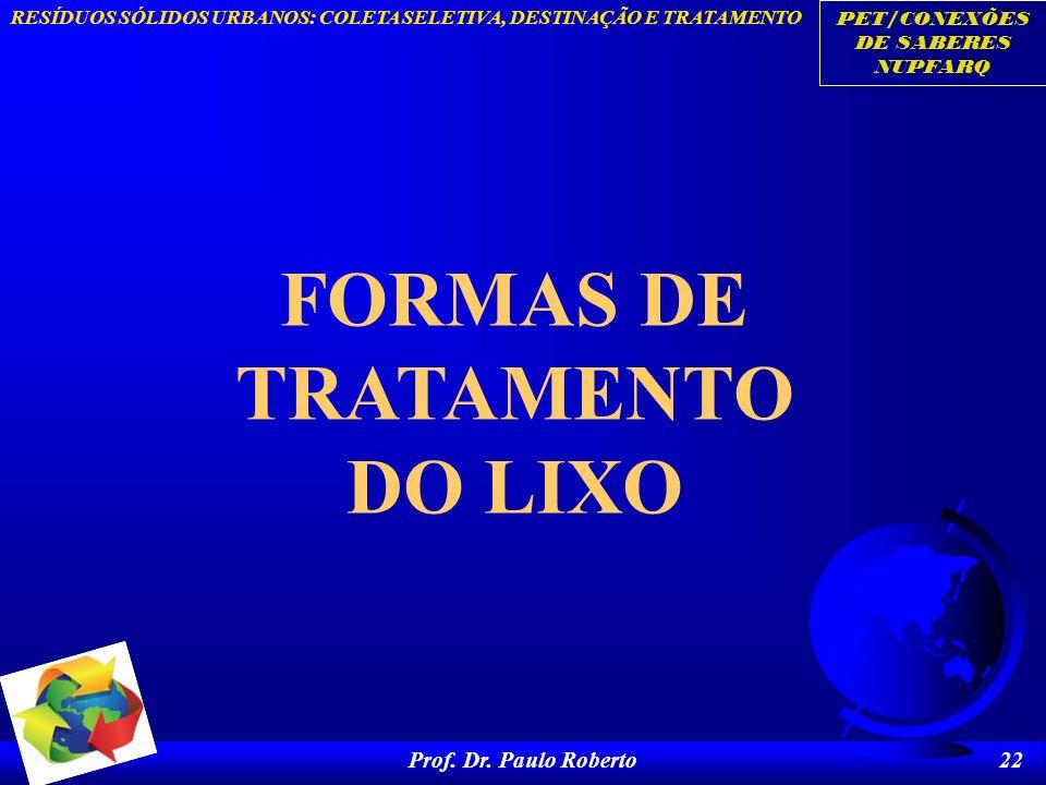 FORMAS DE TRATAMENTO DO LIXO