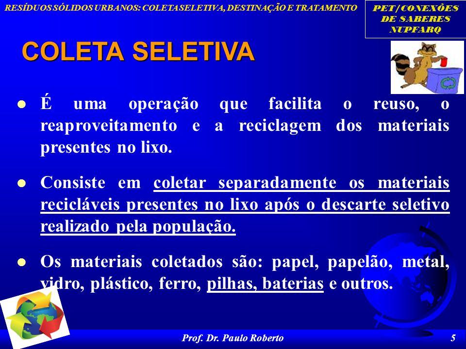 COLETA SELETIVA É uma operação que facilita o reuso, o reaproveitamento e a reciclagem dos materiais presentes no lixo.