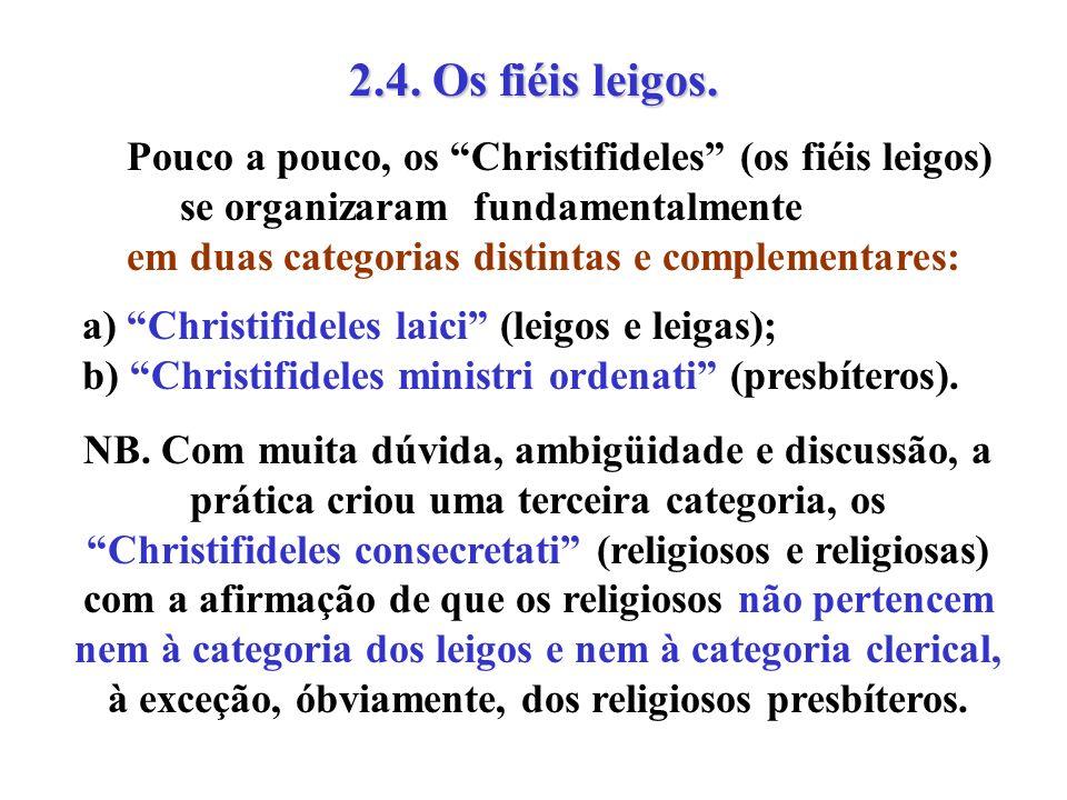 2.4. Os fiéis leigos. Pouco a pouco, os Christifideles (os fiéis leigos) se organizaram fundamentalmente.