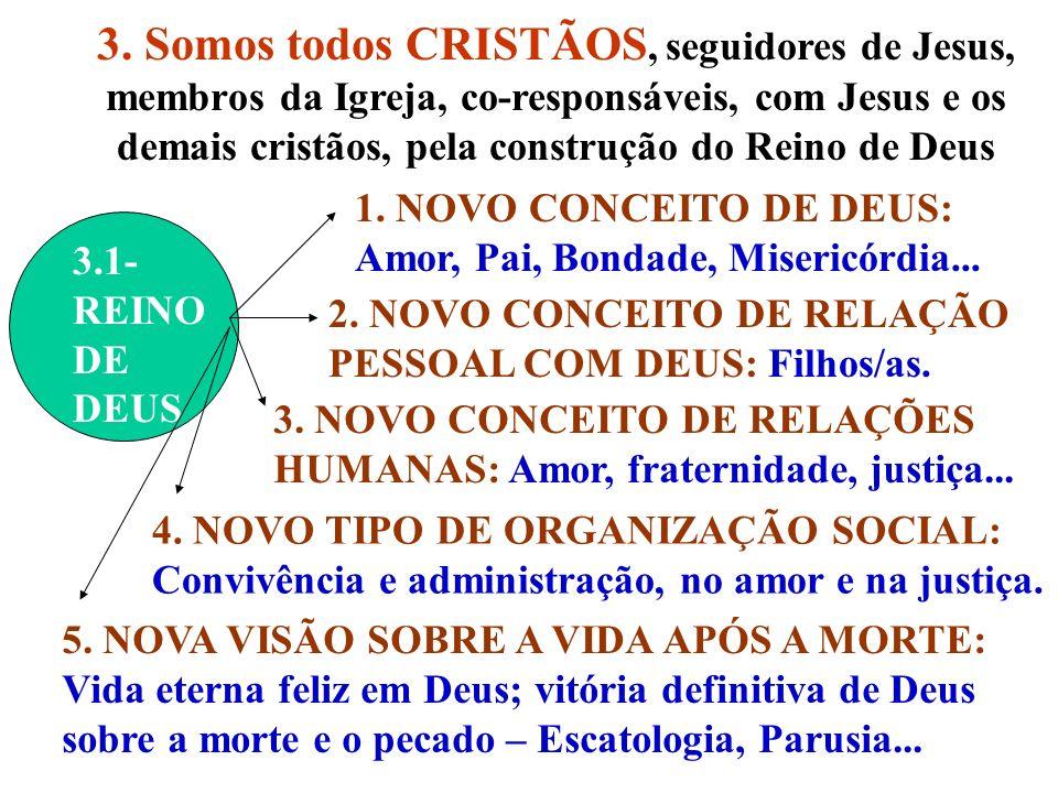 3. Somos todos CRISTÃOS, seguidores de Jesus, membros da Igreja, co-responsáveis, com Jesus e os demais cristãos, pela construção do Reino de Deus
