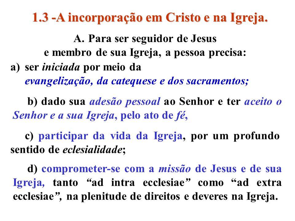 1.3 -A incorporação em Cristo e na Igreja.