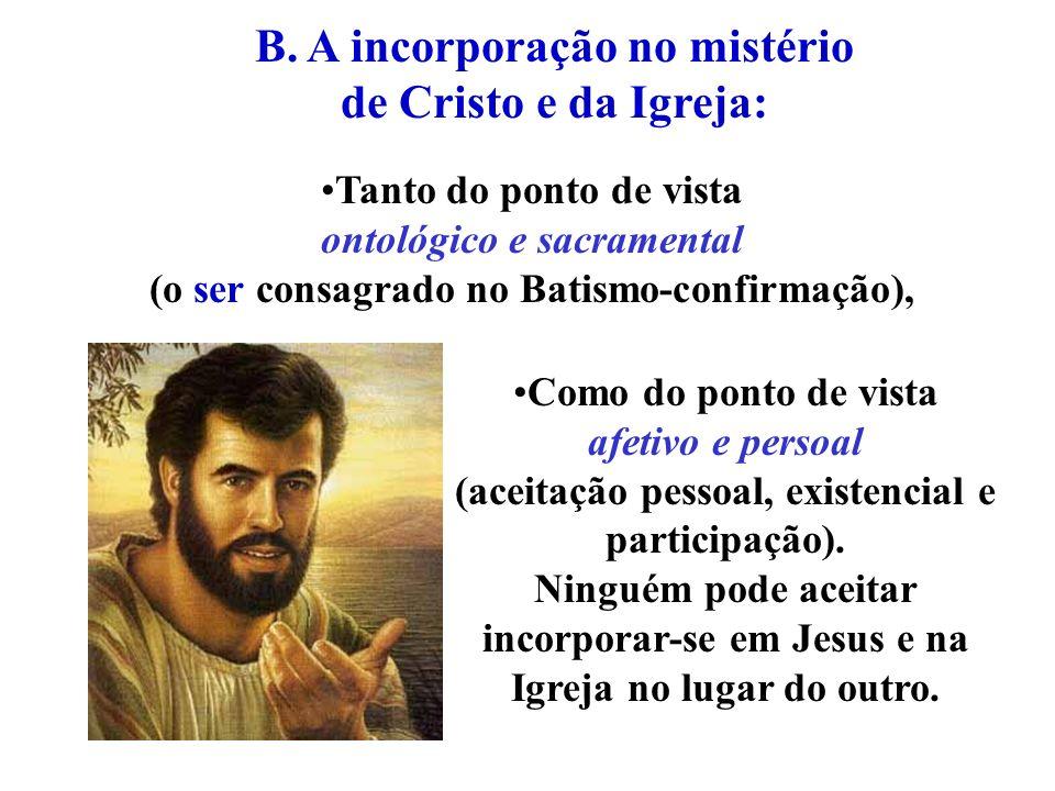 B. A incorporação no mistério de Cristo e da Igreja: