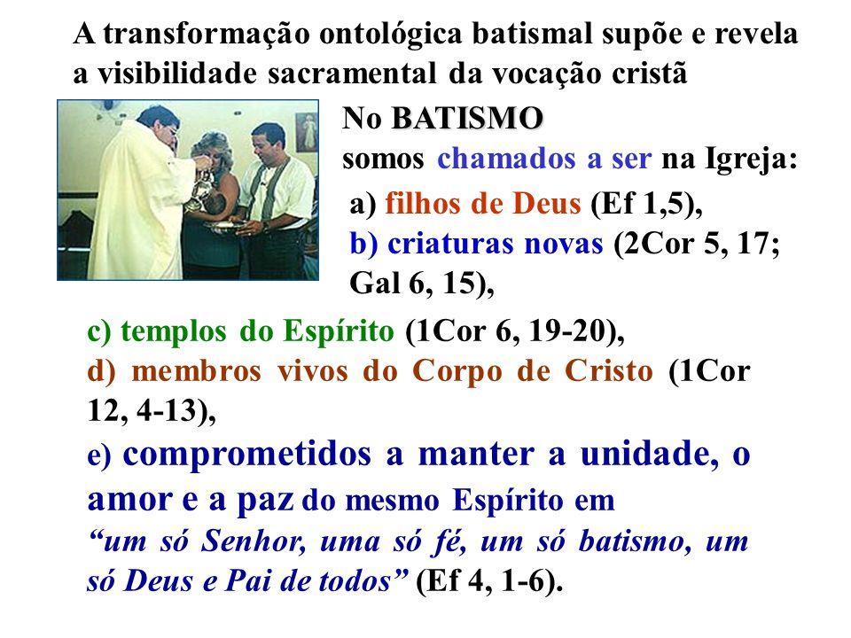A transformação ontológica batismal supõe e revela a visibilidade sacramental da vocação cristã