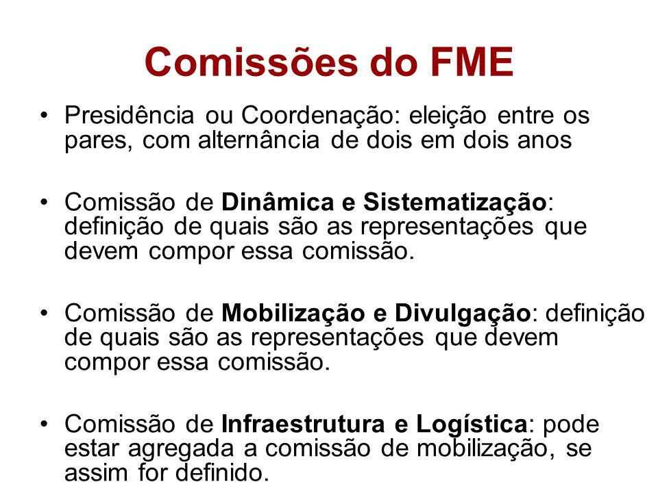 Comissões do FMEPresidência ou Coordenação: eleição entre os pares, com alternância de dois em dois anos.