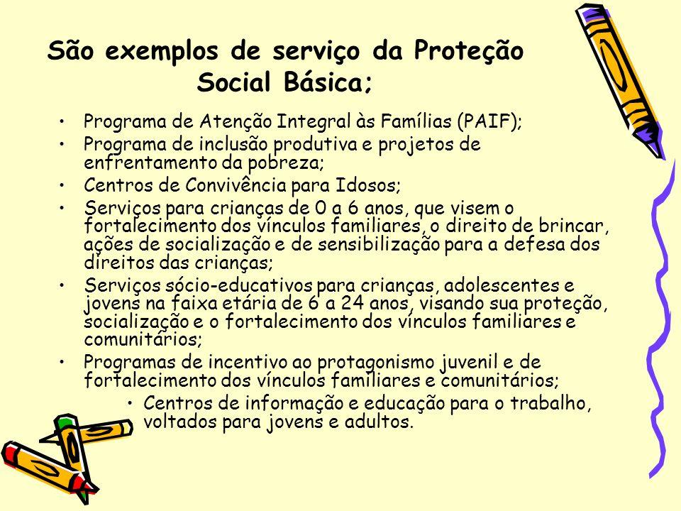 São exemplos de serviço da Proteção Social Básica;