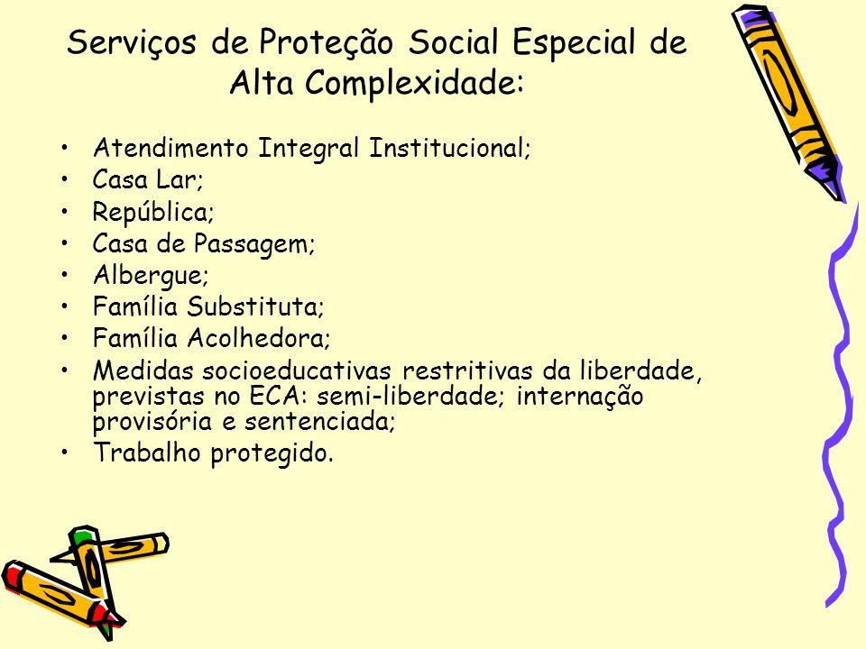 Serviços de Proteção Social Especial de Alta Complexidade: