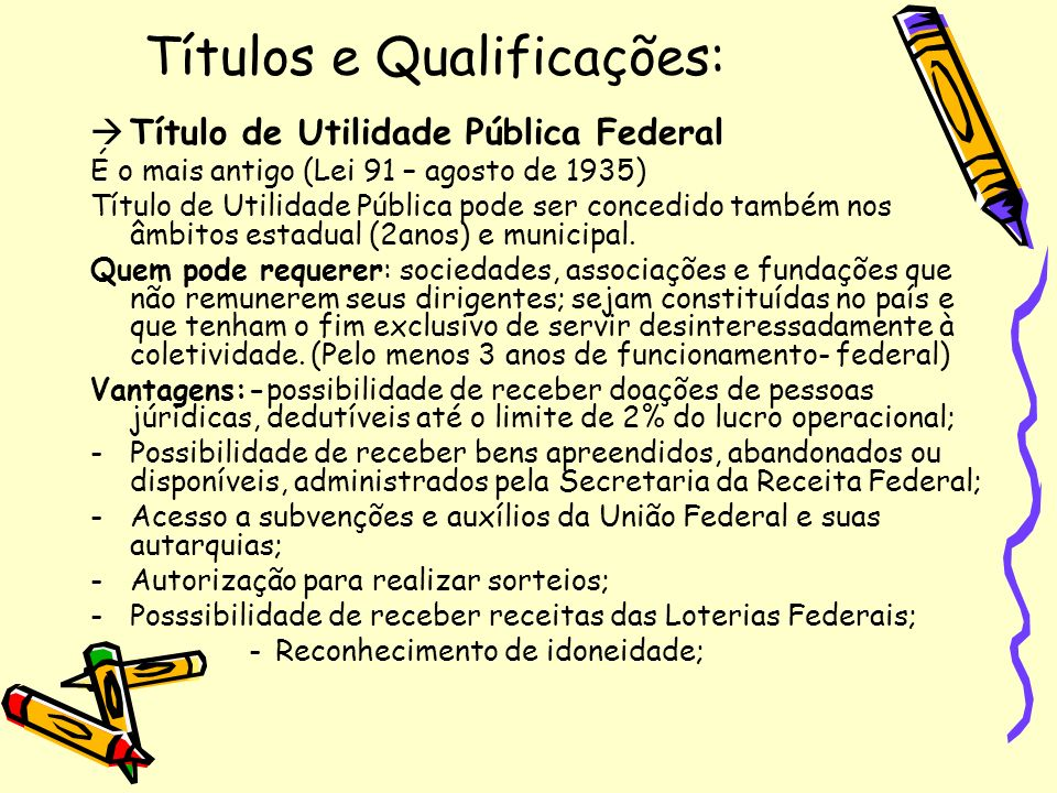 Títulos e Qualificações: