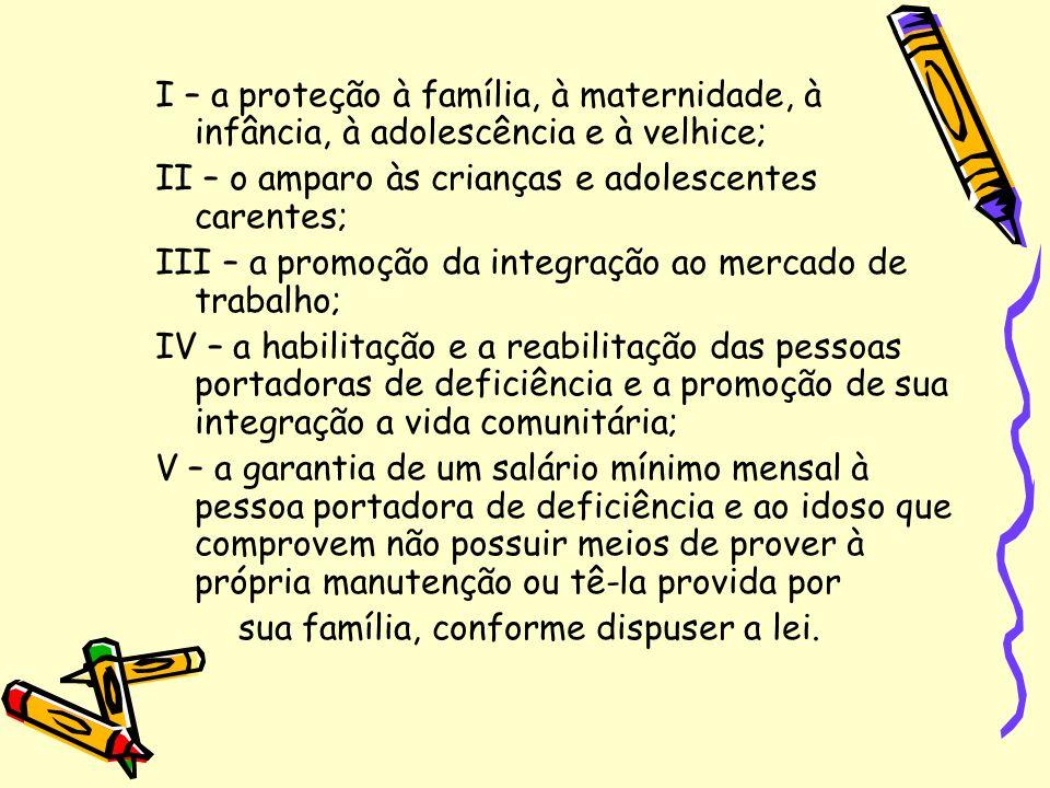 I – a proteção à família, à maternidade, à infância, à adolescência e à velhice;