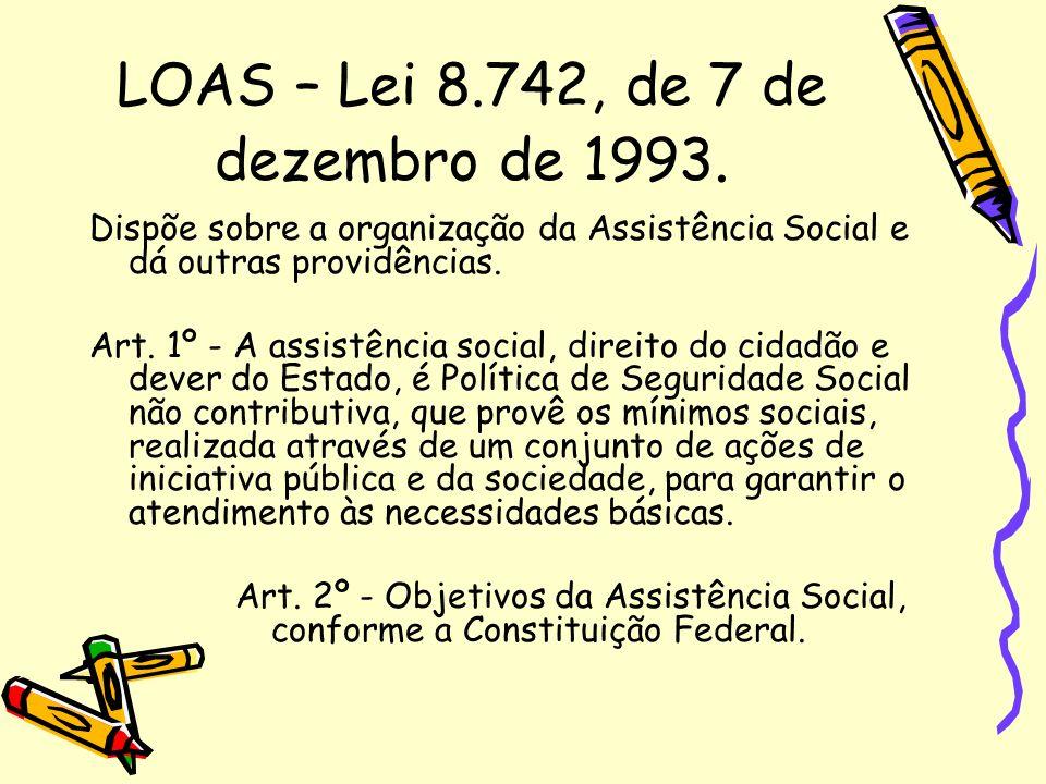 LOAS – Lei 8.742, de 7 de dezembro de 1993.