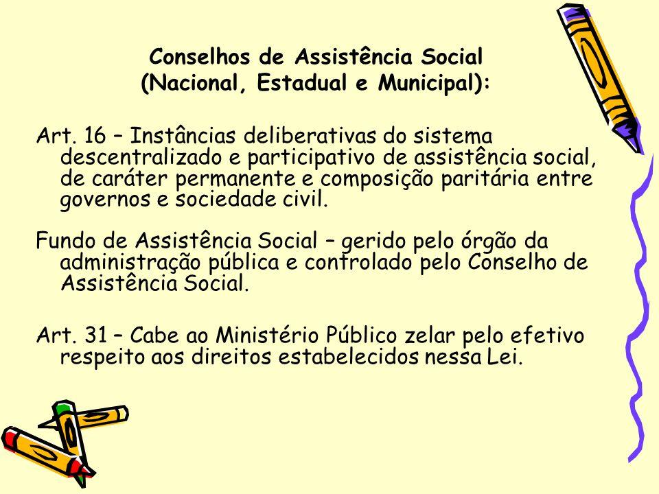 Conselhos de Assistência Social (Nacional, Estadual e Municipal):