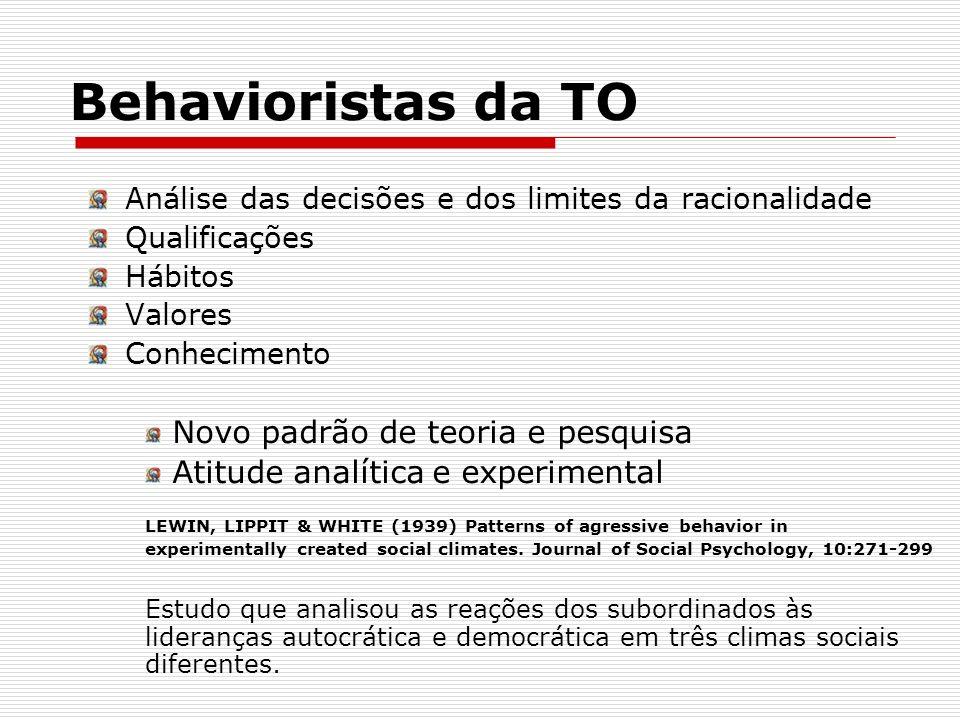 Behavioristas da TO Novo padrão de teoria e pesquisa