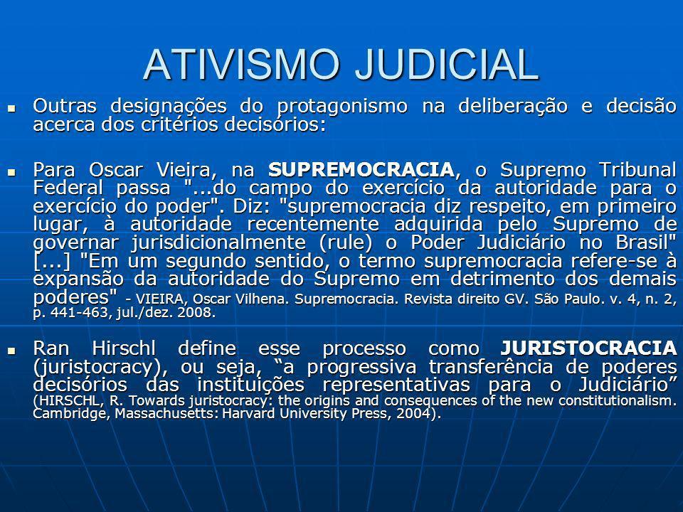 ATIVISMO JUDICIAL Outras designações do protagonismo na deliberação e decisão acerca dos critérios decisórios: