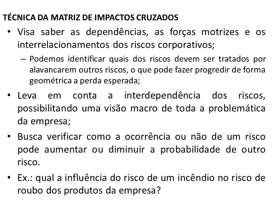 TÉCNICA DA MATRIZ DE IMPACTOS CRUZADOS