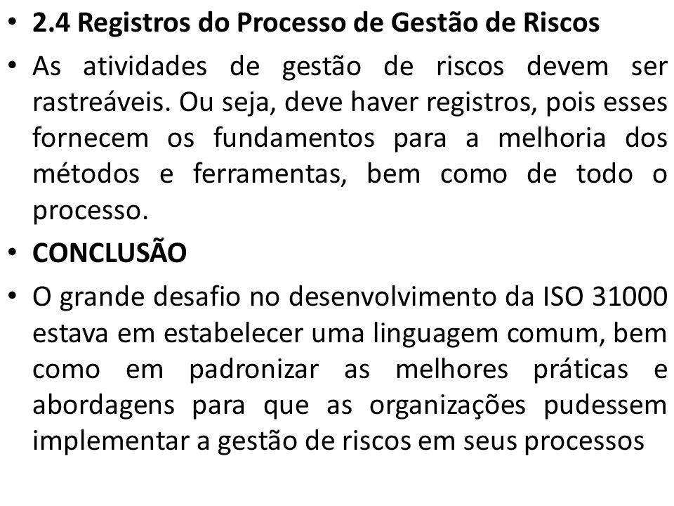 2.4 Registros do Processo de Gestão de Riscos