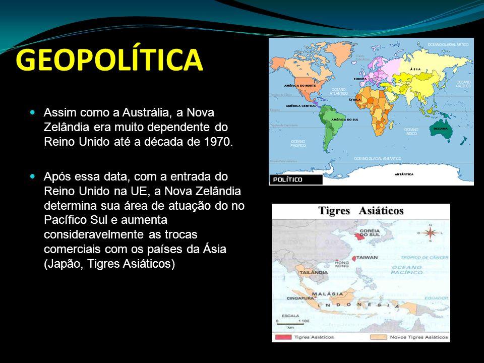 GEOPOLÍTICA Assim como a Austrália, a Nova Zelândia era muito dependente do Reino Unido até a década de 1970.