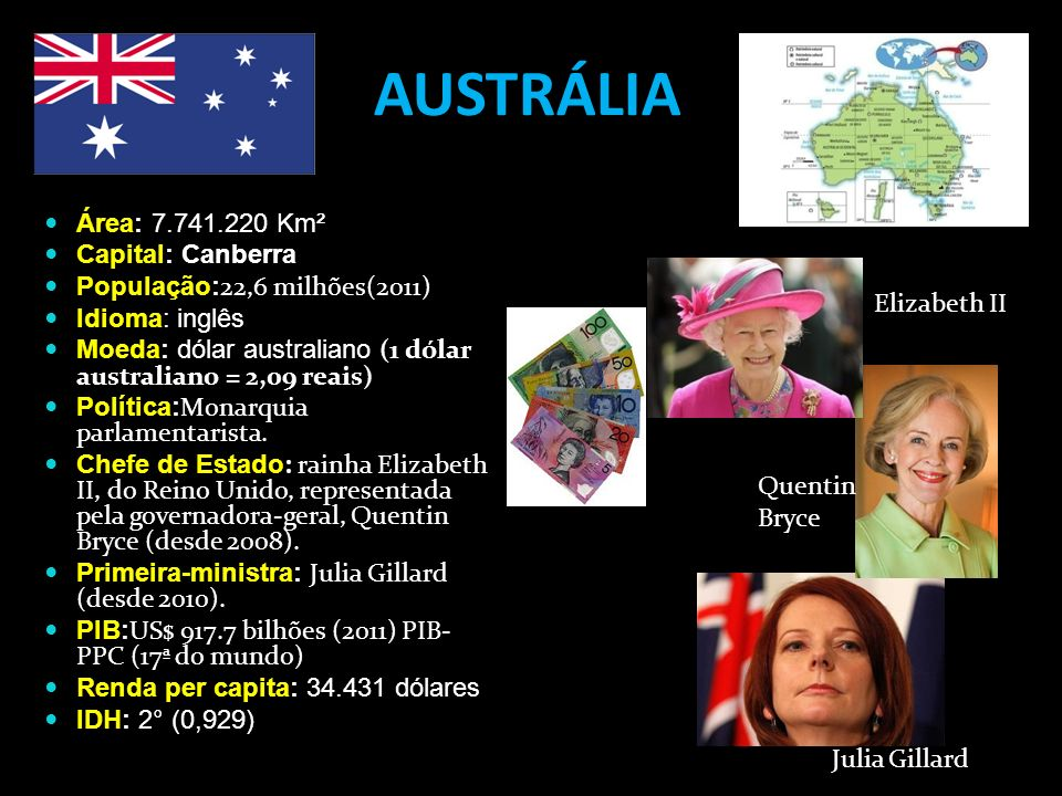 AUSTRÁLIA Área: 7.741.220 Km² Capital: Canberra