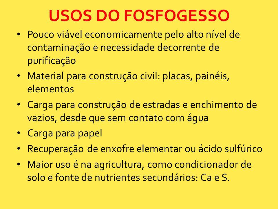 USOS DO FOSFOGESSO Pouco viável economicamente pelo alto nível de contaminação e necessidade decorrente de purificação.