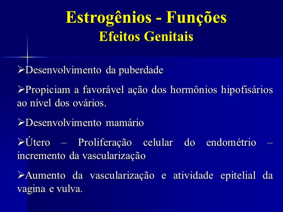 Estrogênios - Funções Efeitos Genitais Desenvolvimento da puberdade