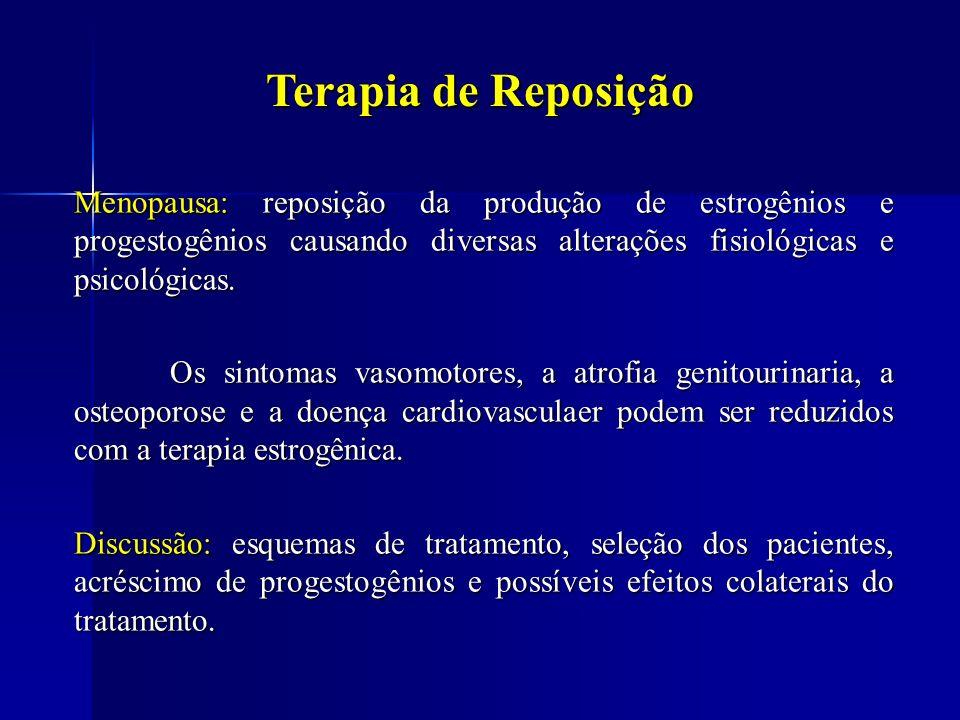 Terapia de Reposição Menopausa: reposição da produção de estrogênios e progestogênios causando diversas alterações fisiológicas e psicológicas.