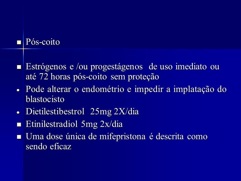 Pós-coito Estrógenos e /ou progestágenos de uso imediato ou até 72 horas pós-coito sem proteção.