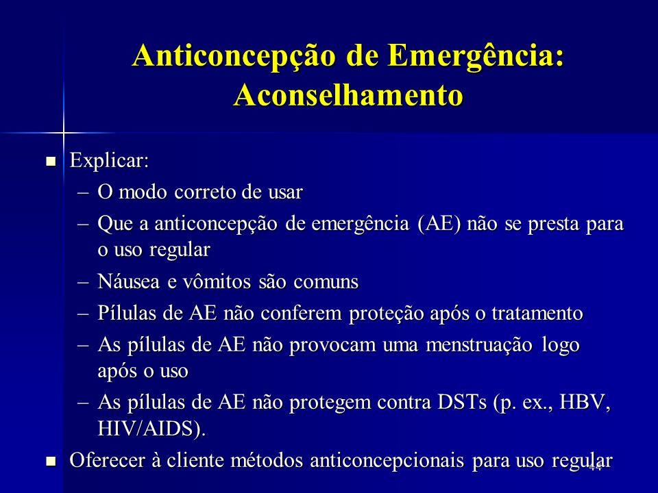 Anticoncepção de Emergência: Aconselhamento