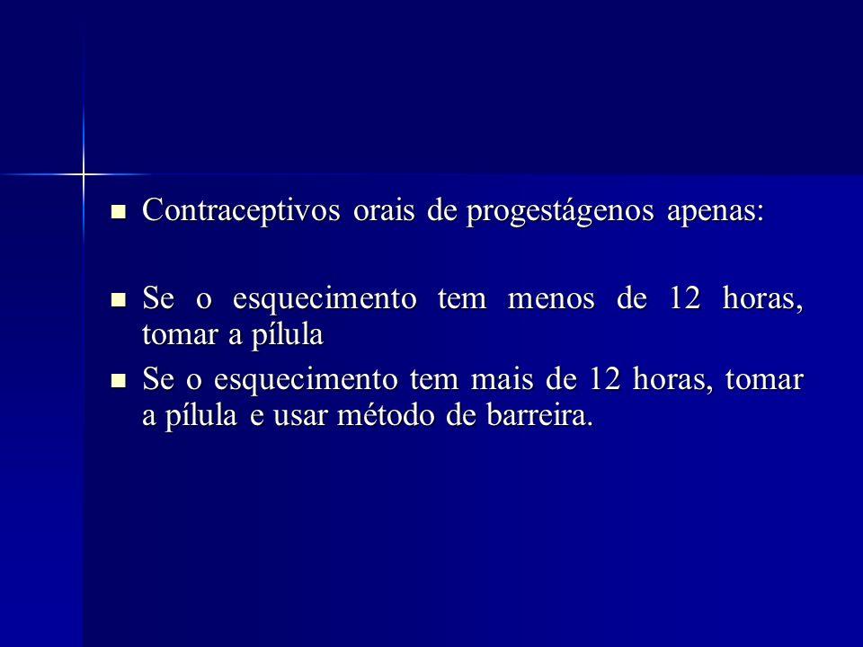 Contraceptivos orais de progestágenos apenas: